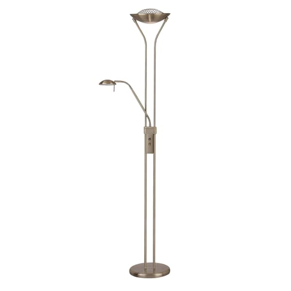 Lite Source Duality II Torchiere/ Reading Lamp, Brass