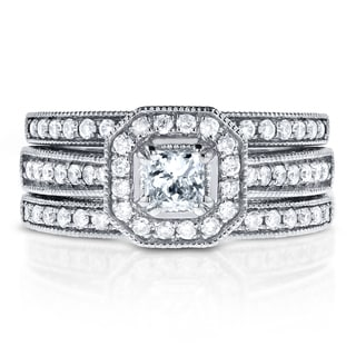 Annello by Kobelli 14k White Gold 4/5ct TDW Princess-cut Halo Diamond 3-Piece Bridal Rings Set