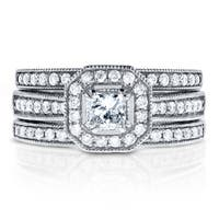 Annello by Kobelli 14k White Gold 4/5ct TDW Princess-cut Halo Diamond 3-Piece Bridal Rings Set
