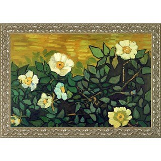 Vincent Van Gogh 'Wild Roses' Hand Painted Framed Canvas Art