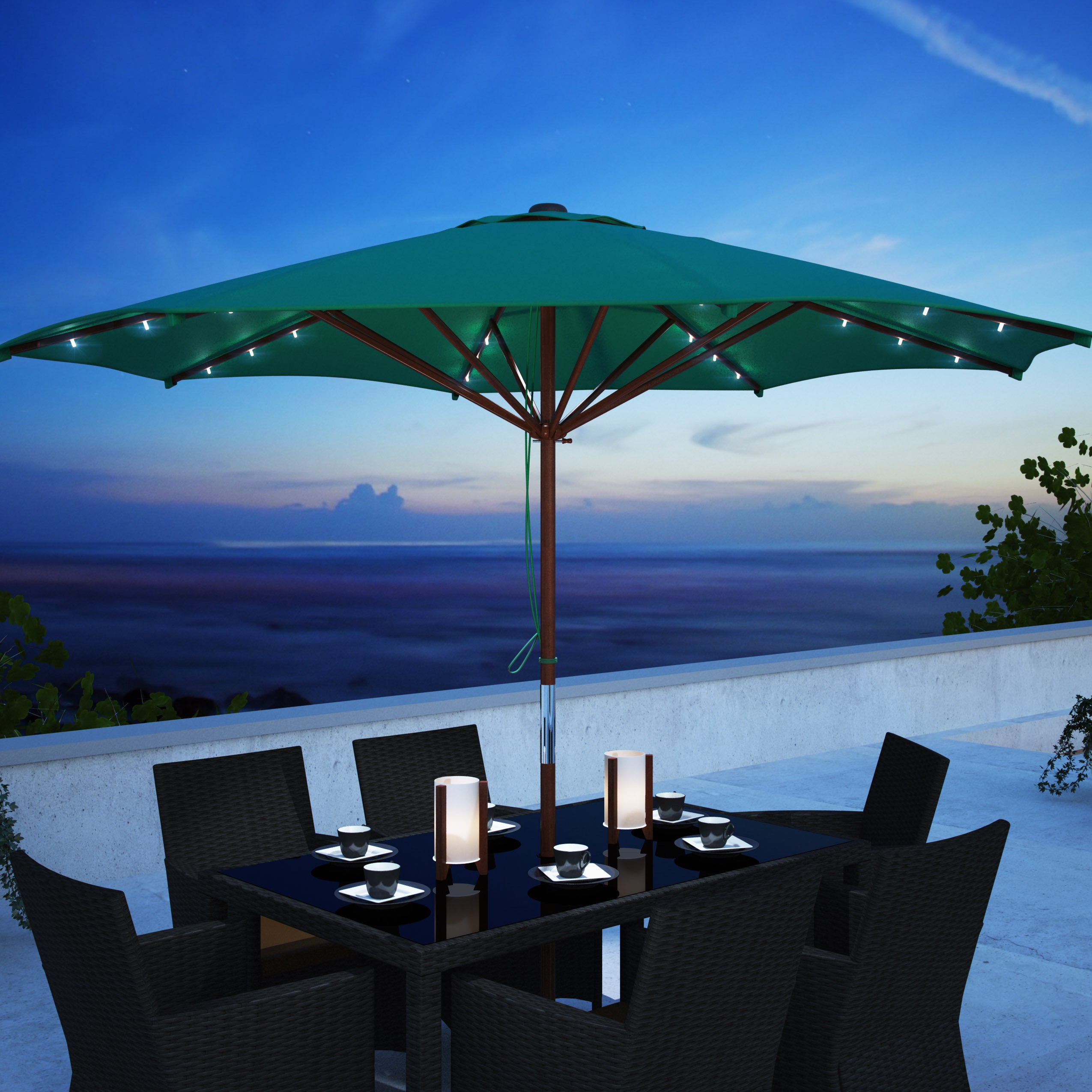 Corliving Patio Umbrella With Solar Power Led Lights Ebay