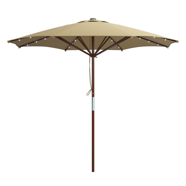 innovations 9 foot deluxe solar powered led lighted red patio umbrella. Black Bedroom Furniture Sets. Home Design Ideas