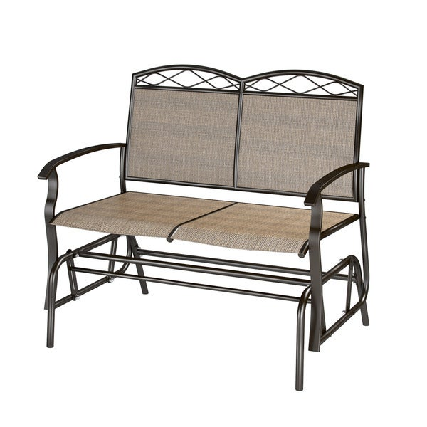 CorLiving PZT 325 G Speckled Brown Patio Double Glider   Free Shipping  Today   Overstock.com   17343418