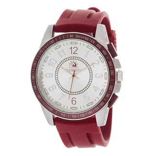 Zunammy Men's Silvertone Case / Red Rubber Strap Watch