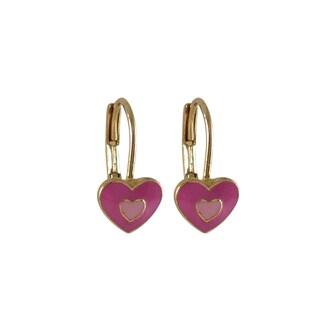Luxiro Gold Finish Children's Enamel Heart Leverback Earrings
