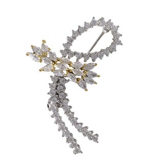 Luxiro Sterling Silver Two-tone Cubic Zirconia Ribbon Brooch