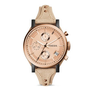 Fossil Woman's ES3786 Gold Dial Chronograph Leather Watch