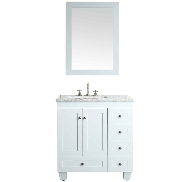 White Transitional Bathroom Vanities: Shop Eviva Acclaim C. 30-inch Transitional White Bathroom