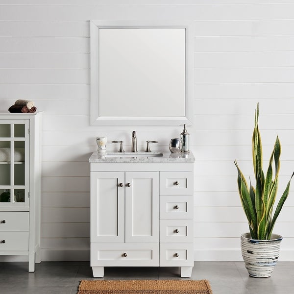 Eviva Acclaim 30 inch White Transitional Bathroom Vanity with White Carrara Marble Countertop and Undermount Porcelain Sink