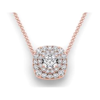 De Couer 14k Rose Gold 2 1/4ct TDW Diamond Double Halo Pendant (H-I, I2)