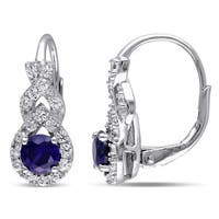 Miadora Sterling Silver Created Blue and White Sapphire Birthstone Braided Leverback Earrings