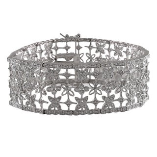 Luxiro Sterling Silver Pave Cubic Zirconia Wide Floral Bracelet