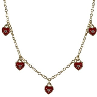 Luxiro Gold Finish Enamel and Crystal Heart Girls Charm Necklace