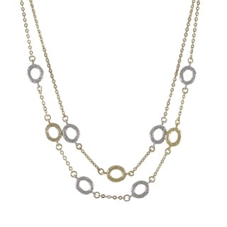 Luxiro Gold and Rhodium Finish Two-tone Ovals Two Row Station Necklace