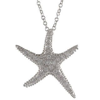 Luxiro Sterling Silver Cubic Zirconia Sea Star Fish Pendant Necklace