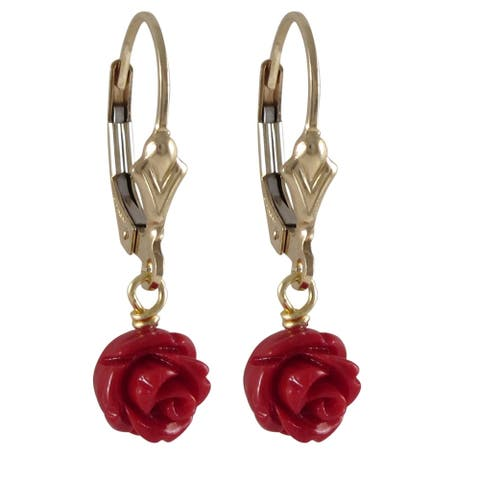 Luxiro Gold Filled Faux Coral Rose Flower Girls Earrings
