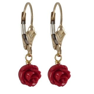 Luxiro Gold Filled Faux Coral Rose Flower Girls Earrings (2 options available)