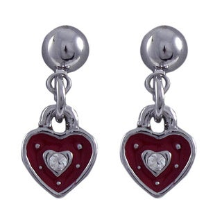 Luxiro Rhodium Finish Red Enamel and Crystal Heart Girls Earrings