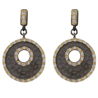 Luxiro Sterling Silver Two-tone Cubic Zirconia Hammered Circle Earrings