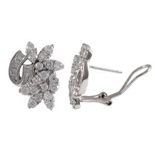 Luxiro Sterling Silver Cubic Zirconia Ribbon Cluster Earrings
