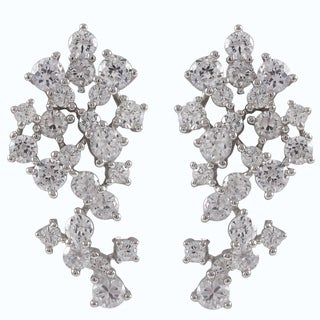 Luxiro Sterling Silver Cubic Zirconia Cluster Cascade Earrings