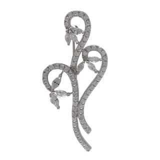Luxiro Sterling Silver Cubic Zirconia Bouquet Brooch