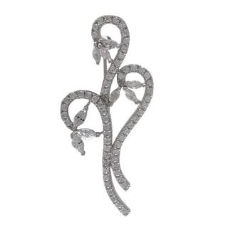 Luxiro Sterling Silver Cubic Zirconia Bouquet Brooch