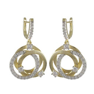 Luxiro Sterling Silver Two-tone Cubic Zirconia Circle Earrings