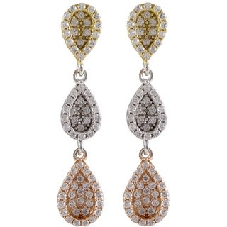 Sterling Silver Gold Finish Cubic Zirconia Teardrop Dangle Earrings