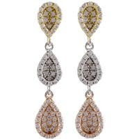 Sterling Silver Gold Finish Cubic Zirconia Teardrop Dangle Earrings