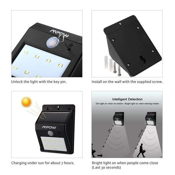mpow solar powered 8 led wireless security motion sensor outdoor wall garden lamp free shipping on orders over 45 - Outdoor Motion Sensor Light
