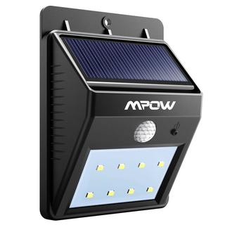 Mpow Black Plastic Solar-powered 8 LED Wireless Security Motion Sensor Outdoor Wall/Garden Lamp