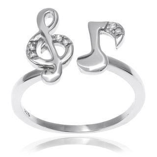Journee Collection Sterling Silver CZ Accent 'Music Note' Adjustable Ring