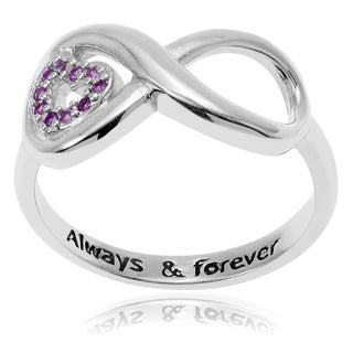 Journee Collection Sterling Silver Cubic Zirconia Heart Accent Infinity Ring