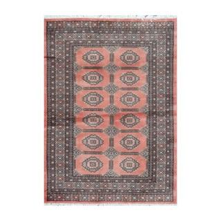 Herat Oriental Pakistani Hand-knotted Bokhara Rust/ Beige Wool Rug (4'2 x 5'7)