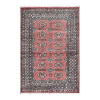 Herat Oriental Pakistani Hand-knotted Bokhara Rust/ Gray Wool Rug (4' x 5'9)
