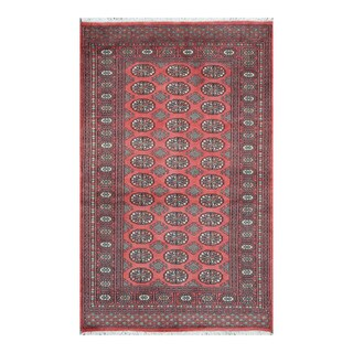 Herat Oriental Pakistani Hand-knotted Bokhara Red/ Ivory Wool Rug (4'2 x 6'8)