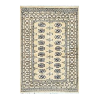 Herat Oriental Pakistani Hand-knotted Bokhara Light Gold/ Ivory Wool Rug (4' x 5'10)