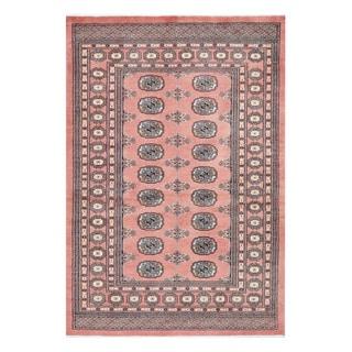 Herat Oriental Pakistani Hand-knotted Bokhara Peach/ Ivory Wool Rug (4'3 x 6'2)