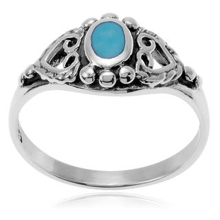 Journee Collection Sterling Silver Oval Turquoise Ring