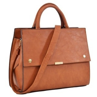 Dasein Faux Leather Snap Front Satchel with Shoulder Strap