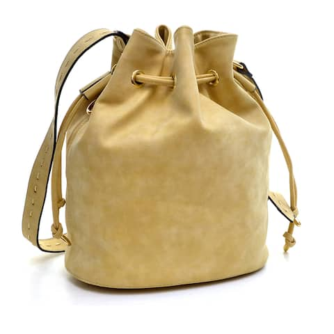 Dasein Distressed Faux Leather Drawstring Bucket Bag