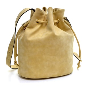 Dasein Distressed Faux Leather Drawstring Bucket Bag