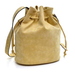 Dasein Distressed Faux Leather Drawstring Bucket Bag|https://ak1.ostkcdn.com/images/products/10222571/P17343895.jpg?impolicy=medium
