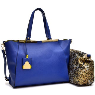 Dasein Crosshatch Winged Gold-Tone Colorblock Satchel Bag