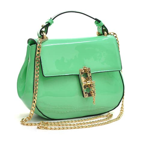 Dasein Patent Leather Crossbody Bag with Pin and Clasp-Fastening Front Flap