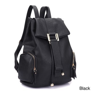 Dasein Faux Leather Drawstring Accent Backpack with Side Pockets (Option: Black)