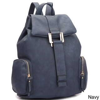 Dasein Faux Leather Drawsrting Accent Backpack with Side Pockets (5 options available)
