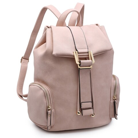 Dasein Faux Leather Drawsrting Fashion Backpack with Side Pockets