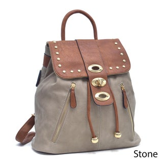 Dasein Two-Tone Studded Flap-over Drawstring Backpack (More options available)